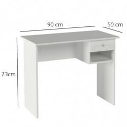 Mesa de ordenador, estudio, escritorio, oficina, 1 cajón + hueco, color blanco.