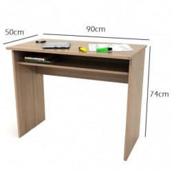 Mesa escritorio, mesa estudio, con bandeja extraible color nogal nature