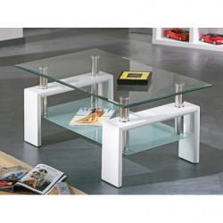 Mesa de centro de cristal con patas de madera color blanco