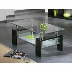 Mesa de centro de cristal con patas de madera color negro