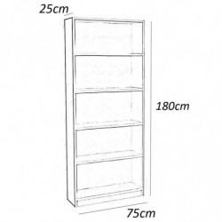Estantería alta 5 estantes 180 x 75 x 25 color blanco