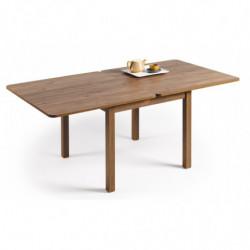 Mesa multiusos comedor cocina dimensiones 90 cm x 90 cm extensible libro a 180 cm x 90 cm color madera envejecida nogal