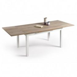 Mesa multiusos comedor cocina dimensiones 120 cm x 80 cm extensible libro a 190 cm x 80 cm color Roble Cambrian y blanco
