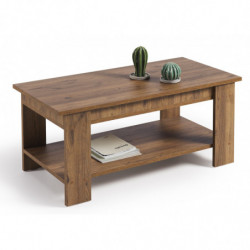 Mesa de centro elevable con revistero, color madera envejecida nogal, medidas 100x50x49/57