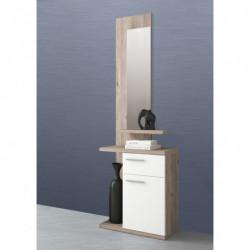 Recibidor ENTER con espejo, cajón, puerta y estantes