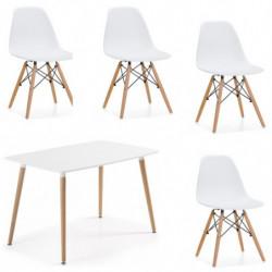 Conjunto Tower,  mesa de salón comedor acabado lacado blanco y patas de madera+ 4 sillas. Medidas 120 x 80 x 75 cm