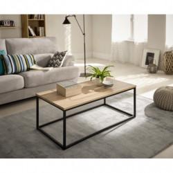 Mesa de centro salón comedor madera y metal estilo industrial vintage medidas 100 x 50 x 45 cm