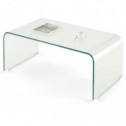 Mesa de centro cristal curvado de una pieza, medidas 110 x 55 x 35 cm