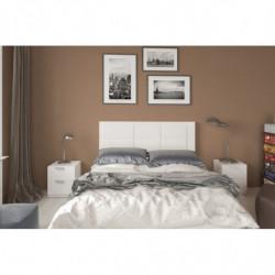 Conjunto cabecero tapizado Blanco + 2 mesitas de Noche Color Blanco