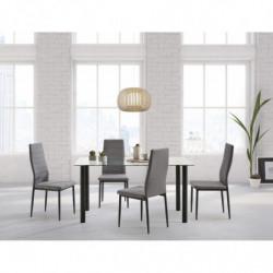 Conjunto mesa 120 cm x 70 cm x 75 cm + 4 sillas color negro + tejido gris