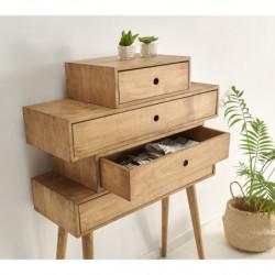 Cómoda, sinfonier diseño vintage con 4 cajones de madera maciza acabado encerado.