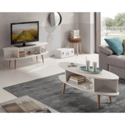 Conjunto salón - Mueble tv + mesa centro salón ovalada diseño vintage con estantes