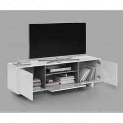 Mueble Zaida Comedor Tv Moderno Color Blanco Brillo Y Ceniza, Dimensiones 150x47x41 Cm