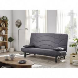 Sofá cama clic clac, tapizado en tejido color gris, funda lavable