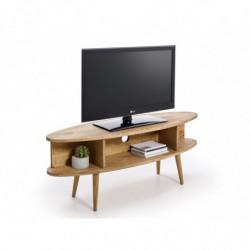 Conjunto salón - mueble tv + mesa centro ovalada + estantería. Diseño vintage, acabado madera maciza natural encerado