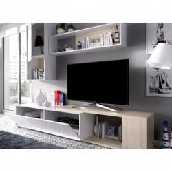 Mueble de salón, mueble tv acabado blanco brillo y natural, con posición de rinconera.