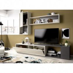 Mueble de salón, mueble tv acabado gris y grafito, con posición de rinconera.