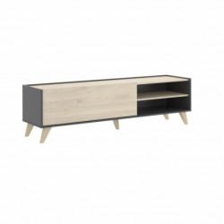 Mueble TV, mueble salón-comedor acabado color grafito y madera natural.