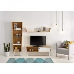 Composición-salón Reciclado- Mueble TV con Estante Superior + Estantería Madera Reciclado Estilo Retro Vintage.