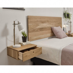 Conjunto Enzo Roble - Dormitorio Compuesto de Cabecero, 2 Mesitas y Cómoda, Madera Natural Roble Macizo Natural.