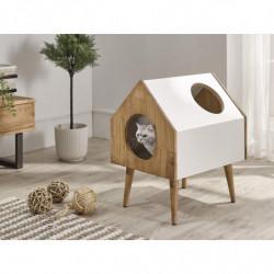 Casa Madera para Mascotas con Dos Huecos Fabricado Madera y MDF.