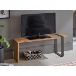 Morfeo-Mesa televisión, Mueble TV Madera Maciza Natural Diseño Industrial-Vintage, Medidas 110 x 30 x 40 cm.