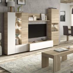 DISEGNO Mueble salon compacto 260 Color RobleCanadian/BL.Brillo