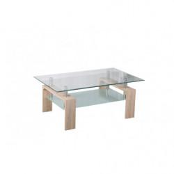 Mesa de centro de cristal con patas de madera color cambrian