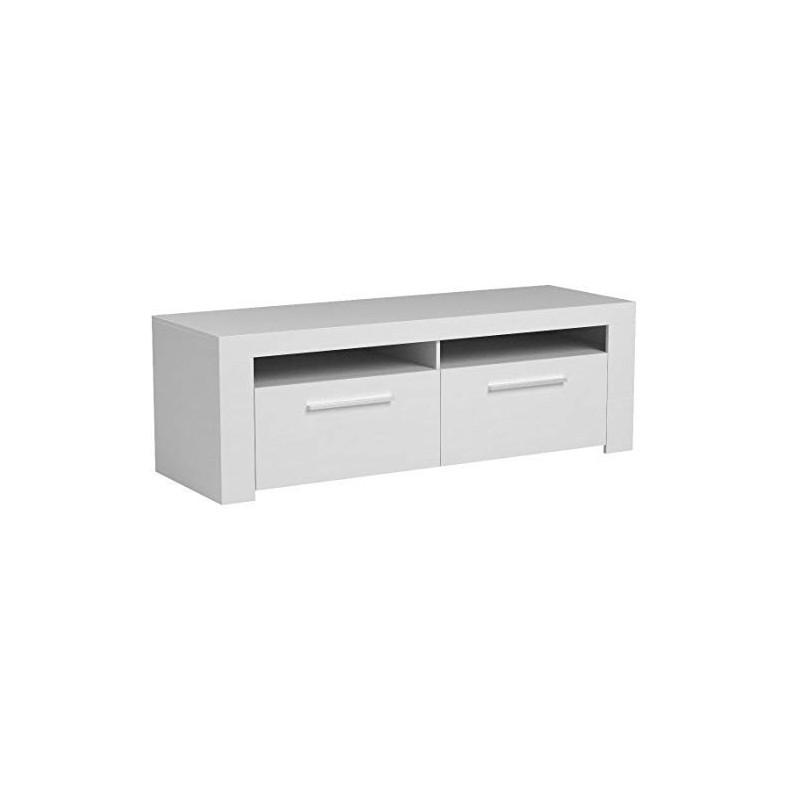1F6682BO- Mueble de Salón-Comedor Belus, Color Blanco Brillo - Roble Canadian
