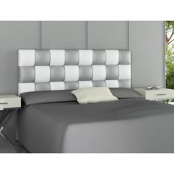 Cabecero tapizado modelo PATCHWORK Blanco y Plata