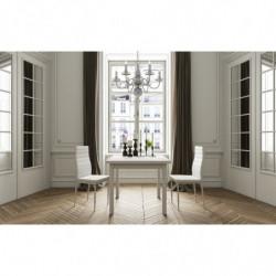 Mesa cuadrada multiusos comedor/cocina. Dimensiones 90 cm x 90 cm extensible libro a 180 cm x 90 cm blanca