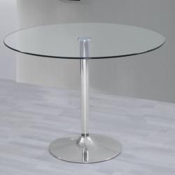 Mesa de salon comedor cocina redonda de cristal y base de metal cromado