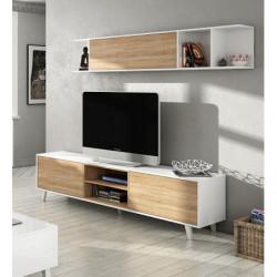 Mueble de salón comedor, módulo TV + estante, color Blanco Brillo y Roble.