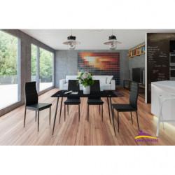 Conjunto mesa ABA negro + 4 sillas ABA color negro