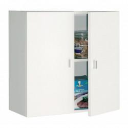 Mueble de colgar con dos puertas, 60 x 60 x 26.5 cm, color blanco