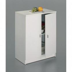 Armario bajo, 2 puertas, 60 cm de ancho, madera, color blanco