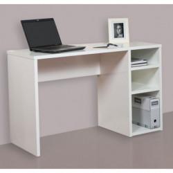 Mesa escritorio, mesa estudio con 3 estantes, color blanco brillo, medidas: 120 x 75 x 50 cm de fondo