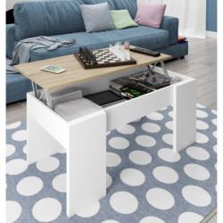 Mesa de centro elevable color roble canadian y blanco brillo