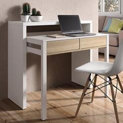 Mesa consola escritorio extensible blanco brillo y roble canadian para estudio, oficina o habitación