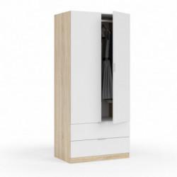 Armario de 2 puertas y 2 cajones, Color blanco brillo Roble Canadian