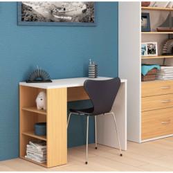Mesa escritorio estudio, color blanco y roble claro, de 100 cm x 50 cm x 75 cm