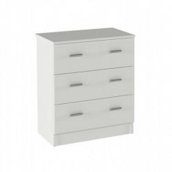 Cómoda 3 cajones, color blanco, 70 x 59 x 36 cm