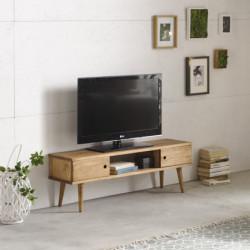 Conjunto 2 muebles: Mesa de centro diseño vintage + Mueble televisión, madera maciza natural, fabricación artesanal