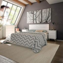 Dormitorio Sweet - Cabecero + Dos Mesitas + Cómoda, Válido para Camas De 135, 140, 150 y 160 cm. Acabado Color Artik y Blanco.