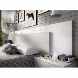 Cabecero y dos mesitas 236 cm moderna y barata en gris y blanco brillo