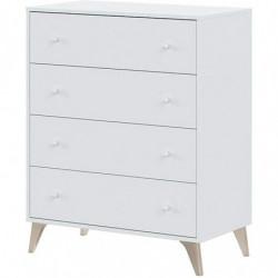 Sweet - Cómoda 4 cajones, chifonier, Acabado en Color Blanco Artik, Medidas: 77.5 cm (Ancho) x 95 cm (Alto) x 40 cm (Fondo)