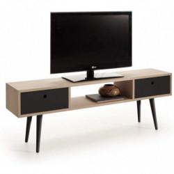 Mueble TV Madera Roble Natural Chapado diseño Vintage, Mesa Baja TV con cajones. Medidas: 140 x 30 x 48 cm